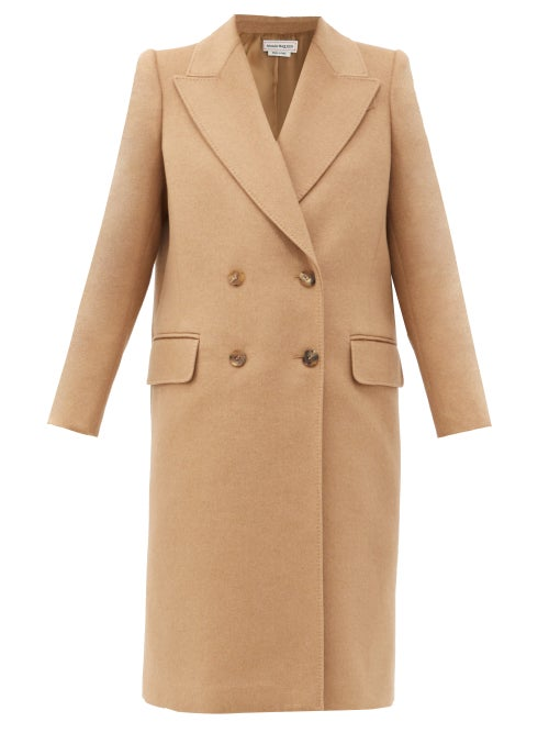 Alexander Mcqueen - Double-breasted Camel-hair Coat - Womens - Beige