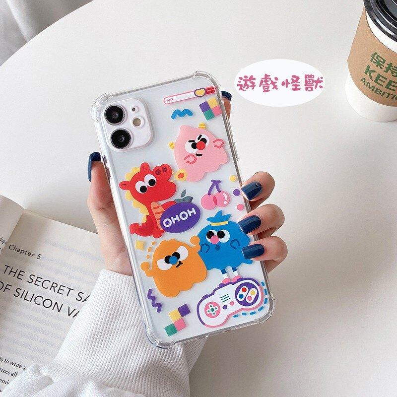 蘋果 iPhone 12 i12 Pro max i12 mini 四角加厚 卡通動物 創意塗鴉 保護套 透明 手機殼 全包邊防摔殼