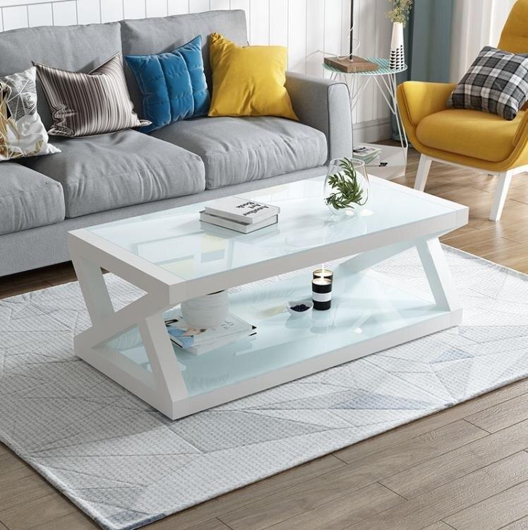 茶几 現代簡易黑色鋼化玻璃茶几桌子電視櫃組合簡約客廳歐式小戶型T【年終尾牙 交換禮物】