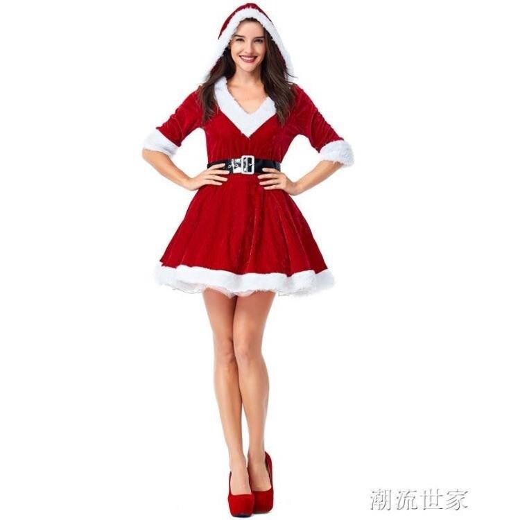 【快速出貨】聖誕節V領蓬蓬裙套裝衣服新款派對聚會聖誕女郎套裝舞臺表演服裝  七色堇 新年春節送禮