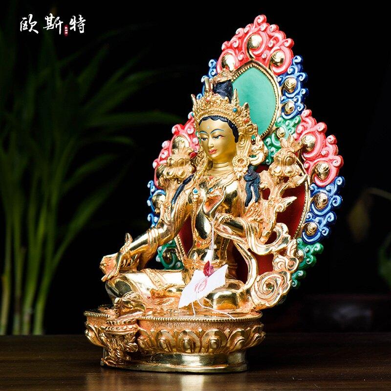 藏傳佛教 密宗佛像擺件尼泊爾手工銅全鎏金7寸帶背光綠度母佛像