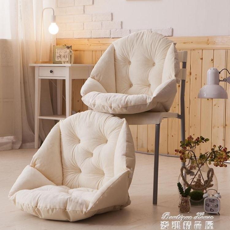 坐墊 毛絨餐椅墊學生加厚保暖連體坐墊辦公室護腰靠墊一體電腦椅墊 雙十一 交換禮物