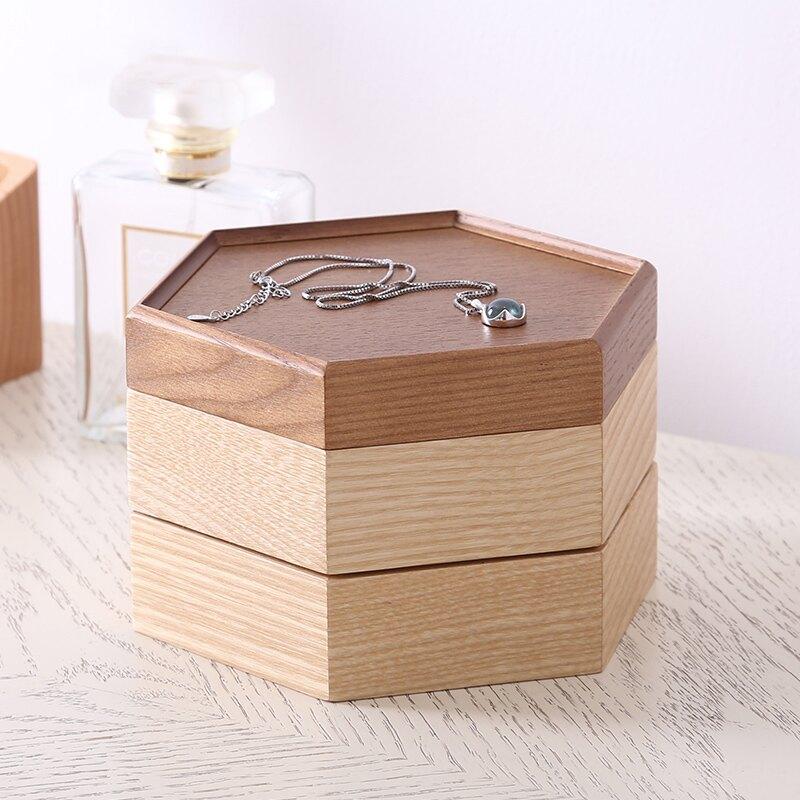 實木質簡約可愛絨布珠寶首飾盒歐式公主小奢華裝耳環戒指收納