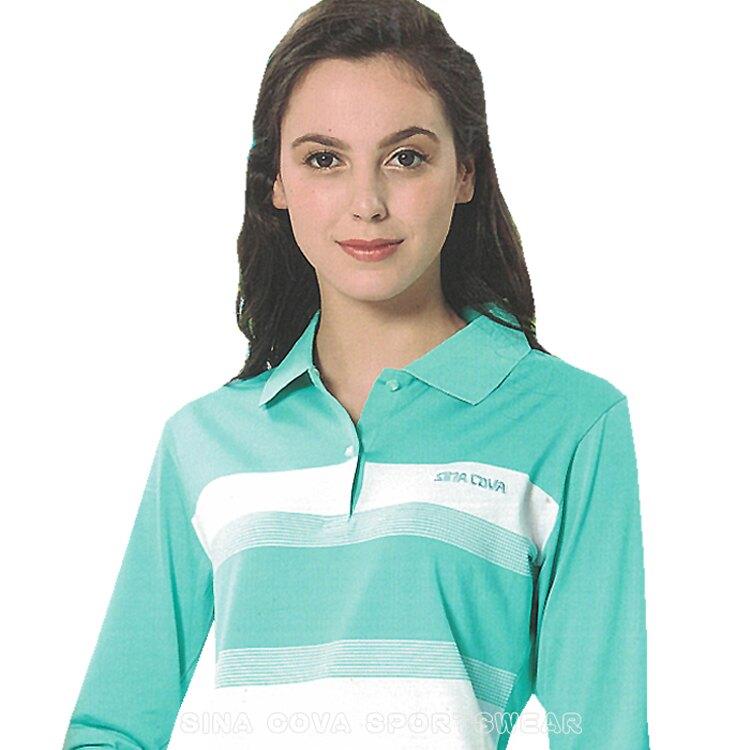 【義大利 SINA COVA】女版運動休閒吸濕排汗電腦條紋長POLO衫(淺綠條紋)#SW8100A