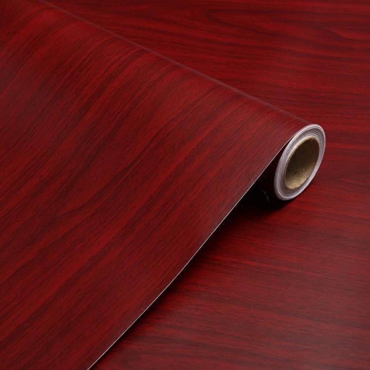 加厚防水自粘墻紙舊家具翻新衣櫃子書桌面門廚房木紋貼紙仿木紅楓 WJ 交換禮物
