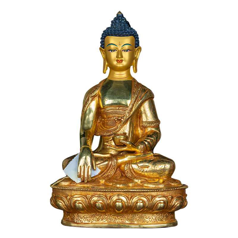 尼泊爾進口10寸純銅全鎏金釋迦牟尼佛釋迦佛擺件密宗釋迦摩尼佛像