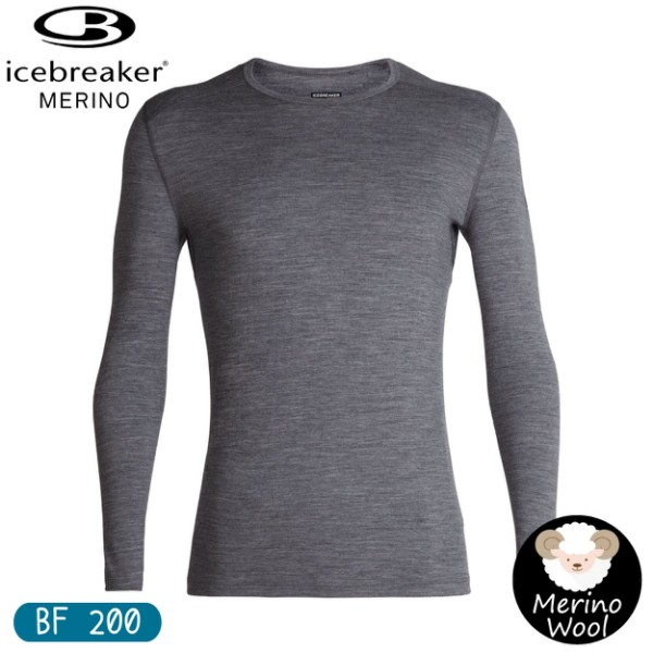 【Icebreaker 男 Oasis素色圓領長袖上衣 BF200《深灰》】104365/保暖羊毛衫/機能服//悠遊山水