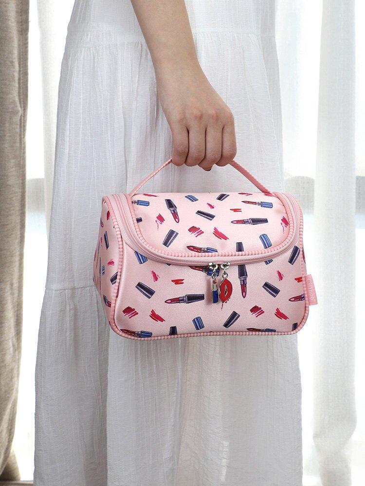 個性韓版大容量多功能多層草莓化妝包女手提手拎時尚便攜式超大號