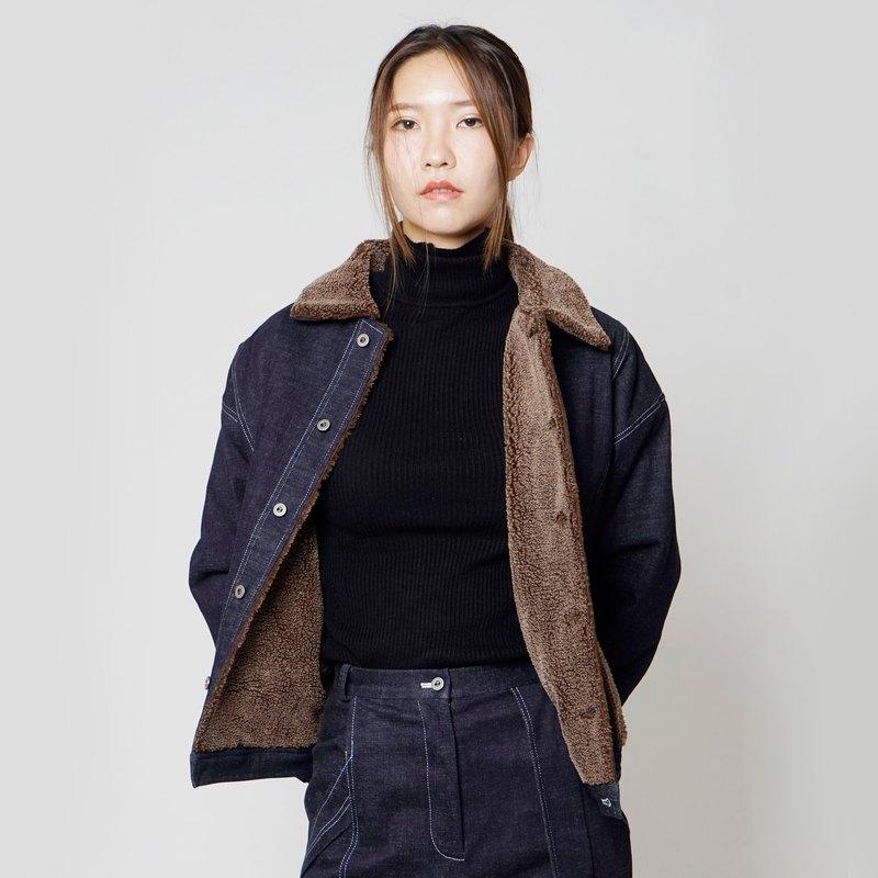 黑白切FW17-18 毛領超保暖內刷毛牛仔外套