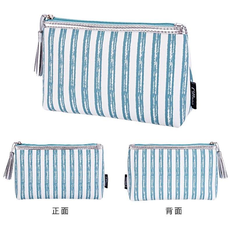 小號隨身便攜式可愛條紋化妝包網紅簡約裝衛生棉姨媽巾收納袋
