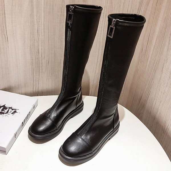 長靴 過膝長靴女2021年秋冬新款中筒騎士馬丁靴小個子高筒長筒顯瘦加絨 霓裳細軟
