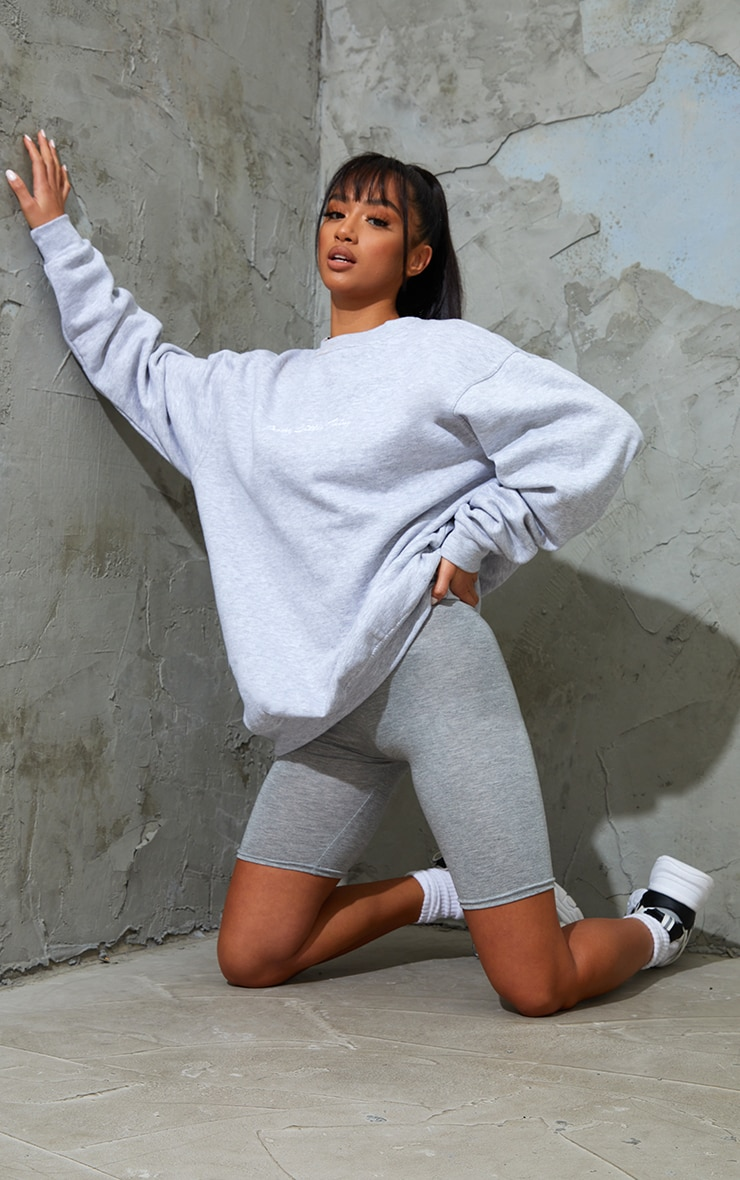 Petite Grey Marl Basic Bike Shorts