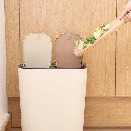 12l按壓小型迷你北京家用兩分類垃圾桶送標識貼洗手間窄型扁長型