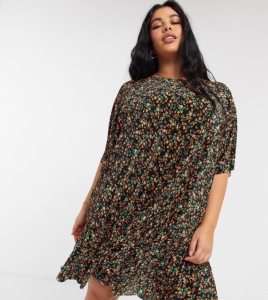 ASOS DESIGN Curve plisse mini smock dress with dip hem in black and orange floral print
