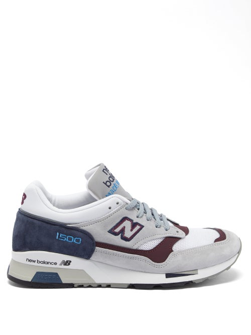 New Balance - Made In England 1500 Leather And Mesh Trainers - Womens - Grey Multi
