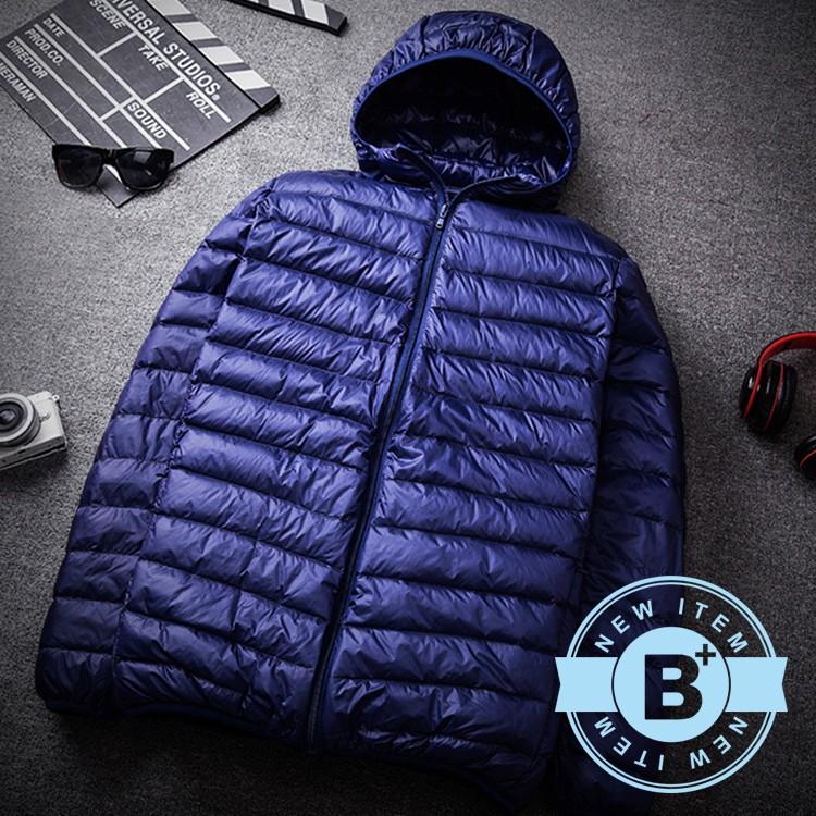 【B+大尺碼專家】男款 大尺碼連帽輕量羽絨外套-深藍/黑/酒紅-0206605
