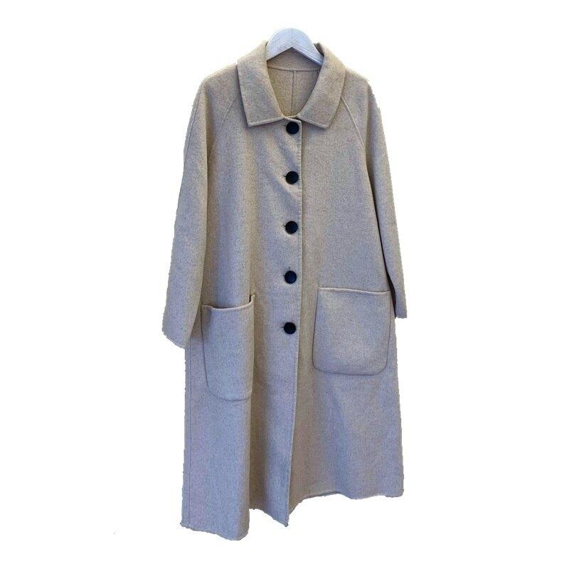 毛呢外套長版大衣-羊毛經典寬鬆復古女外套2色73zg36【獨家進口】【米蘭精品】