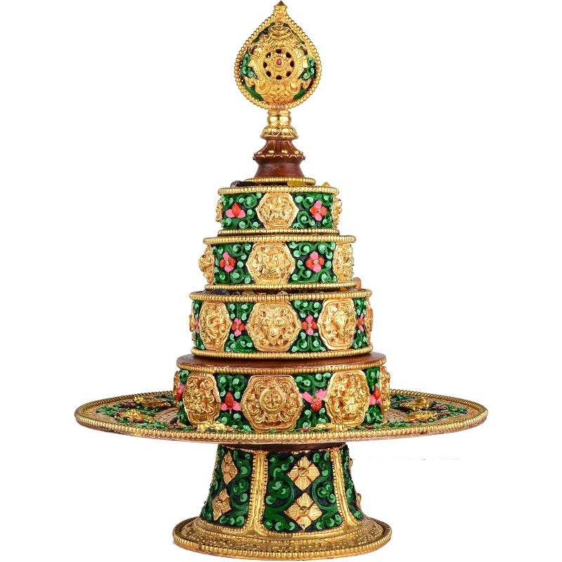 歐斯特 尼泊爾手工紫銅鎏金彩繪八吉祥曼扎盤雕花曼扎曼茶修盤