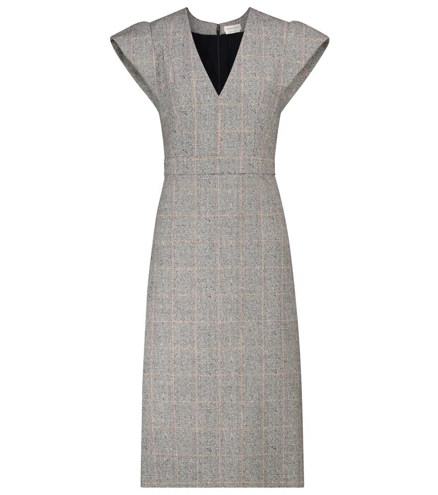 Checked stretch-wool midi dress