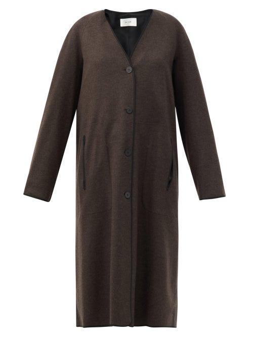 The Row - Velona Single-breasted Wool Coat - Womens - Brown