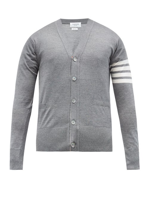 Thom Browne - Four-bar V-neck Merino-wool Cardigan - Mens - Grey