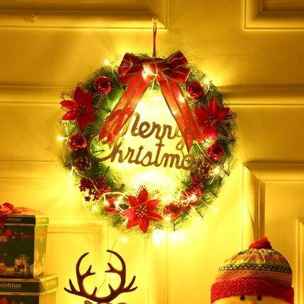 萬聖節飾品 聖誕花環室內門掛聖誕節裝飾用品創意掛飾花圈商場櫥窗場景布置 【古斯拉】