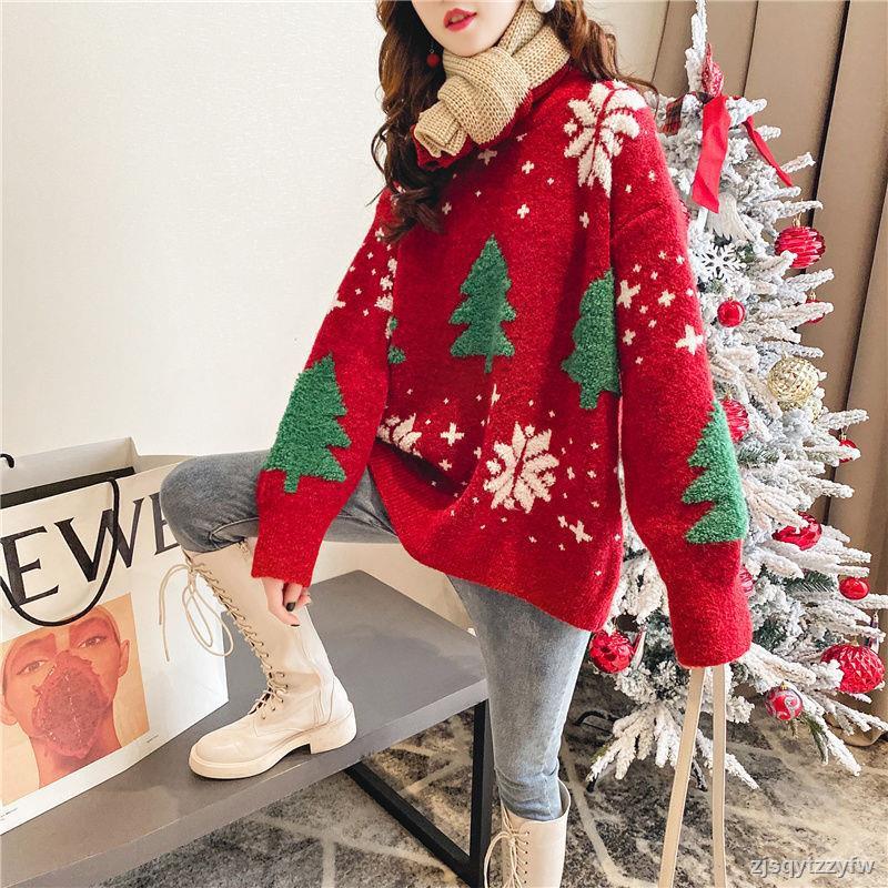紅色圣誕毛衣女2019秋冬新款韓版套頭針織衫寬松慵懶風百搭上衣潮