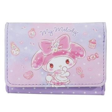 小禮堂 美樂蒂 皮質扣式短夾 短皮夾 零錢包  (紫 花朵)