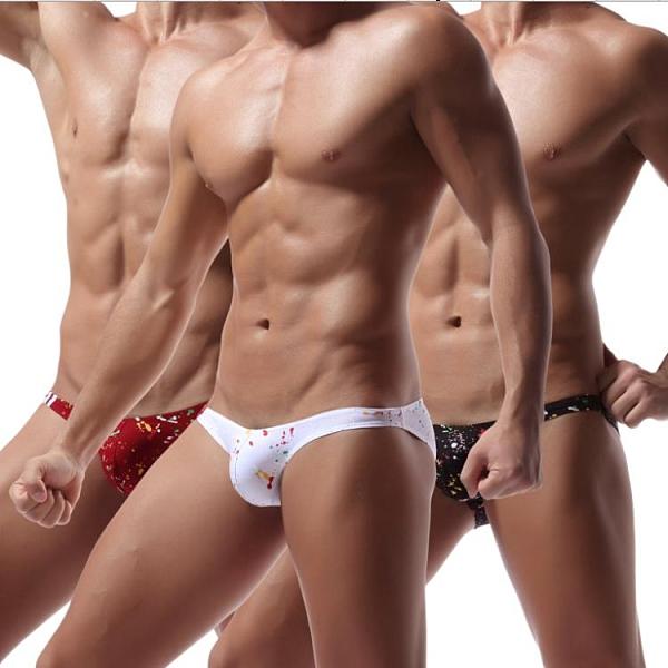 新品特價!!速賣通外貿性感男士內褲印花全棉質低腰油漆點三角褲 E046
