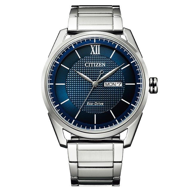 CITIZEN星辰 GENTS 光動能鋼帶男錶-藍45mm(AW0081-89L)