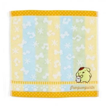 小禮堂 布丁狗 純棉割絨小方巾《黃綠.刺繡音符》25x25cm.毛巾.手帕