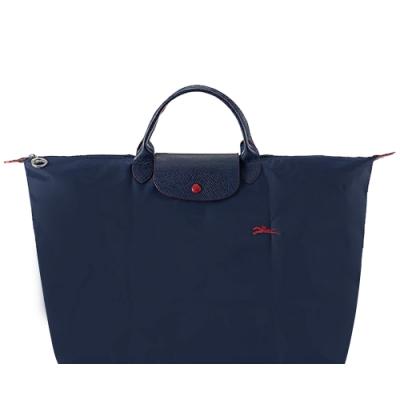 LONGCHAMP LE PLIAGE COLLECTION系列刺繡短把手提旅行袋(大/海軍藍)