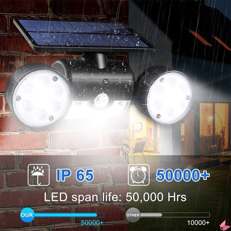 【 Mangoo 】 30led 太陽能燈雙頭太陽能燈 Pir 運動傳感器聚光燈防水戶外可調角度燈, 用於花園牆