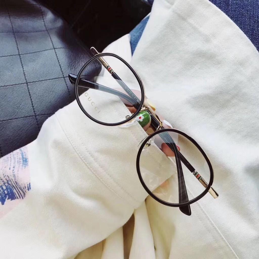 新款古馳圓框眼鏡架男女光學近視眼鏡框GG0393意大利板材彈簧鏡腿眼鏡