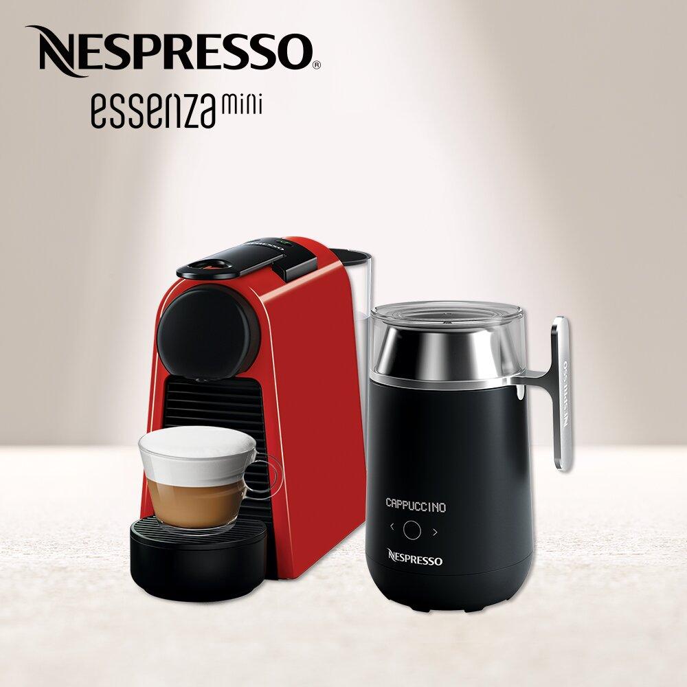 【Nespresso】膠囊咖啡機 Essenza Mini 寶石紅 Barista咖啡大師調理機 組合