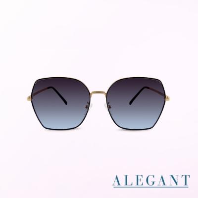 ALEGANT韓潮街拍時尚墨羽藍金框幾何造型墨鏡│UV400太陽眼鏡│韶光的神燈幻影