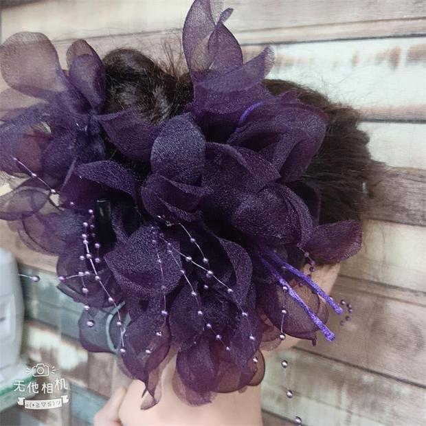 大號頭花卡子誇張盤發抓夾絹紗串珠髮夾布藝花朵舞台頭飾媽媽髮飾