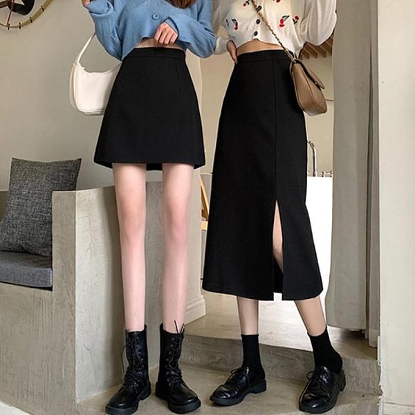 半身裙女 冬季黑色中長款裙子秋季新款長裙開叉半身裙女秋冬高腰A字裙 快速出貨