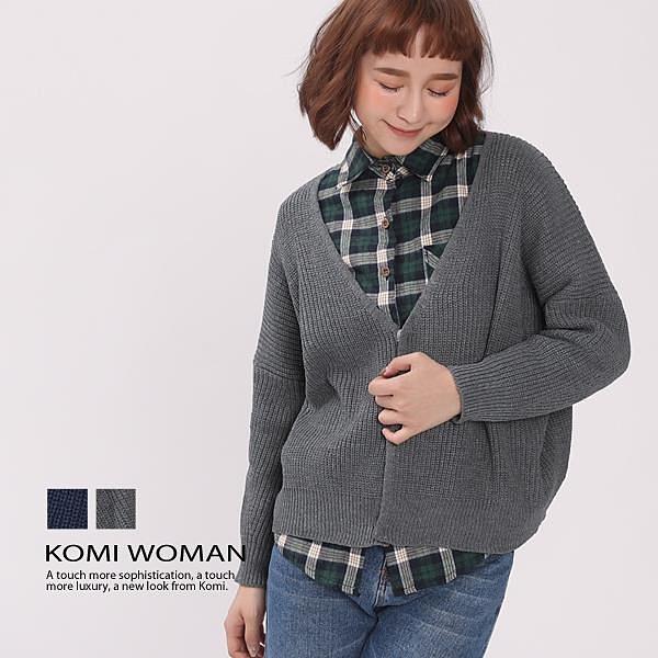 【南紡購物中心】KOMI-V領寬版針織毛衣外套 ‧二色