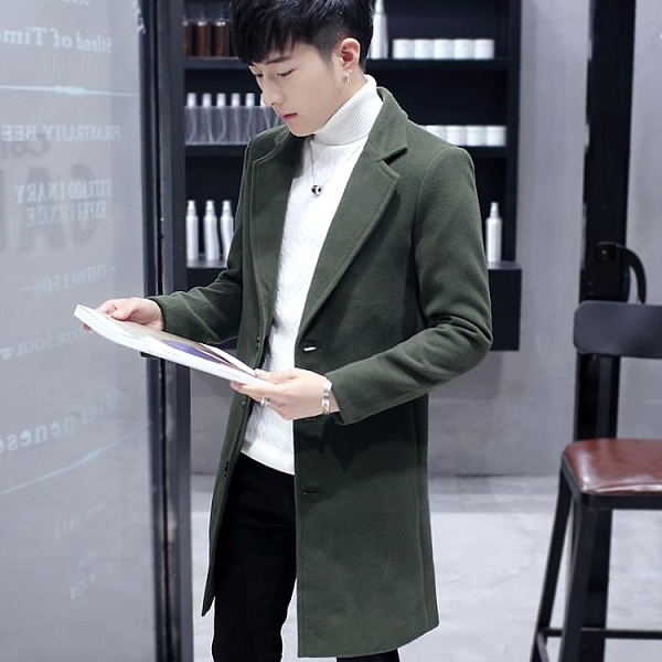 大衣外套男修身韓版秋季毛呢中長款外套