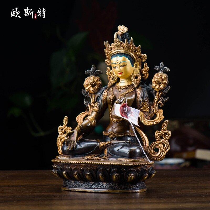 歐斯特 藏傳佛教用品 尼泊爾 手工7寸青銅鍍金 白度母 佛像