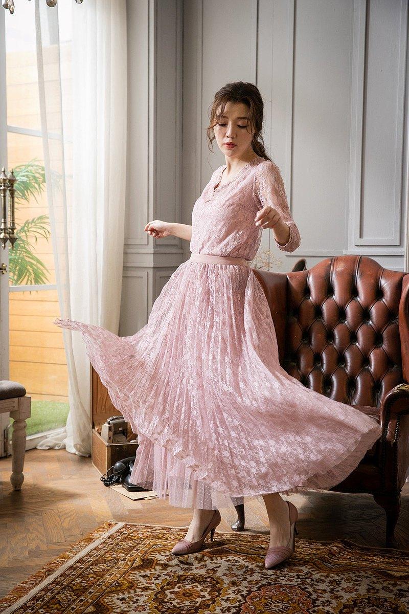 小花蕾絲百摺紗裙粉色