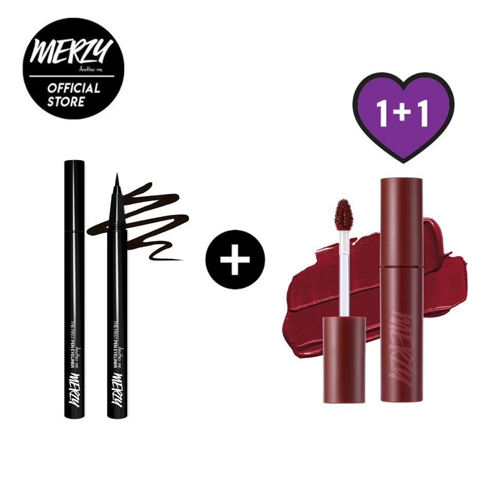 [MERZY] PEN EYELINER 眼線液筆 + MELLOW TINT 棉花糖唇釉套組 (1+1入)