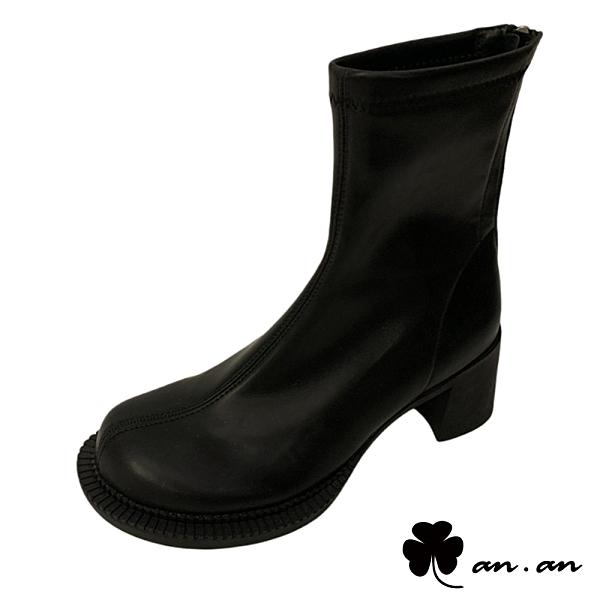 短靴 經典百搭舒適圓頭粗跟短靴(黑)* an.an【18-C8-6bk】【現貨】