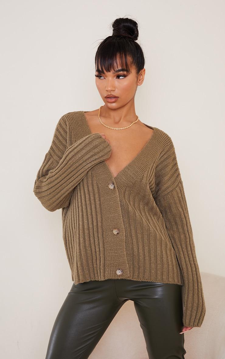 Olive Oversized Soft Knit Cardigan
