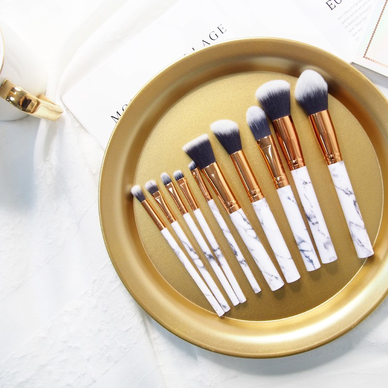 10支裝大理石紋化妝刷 全套超軟毛初學者美妝工具腮紅粉底眼影刷