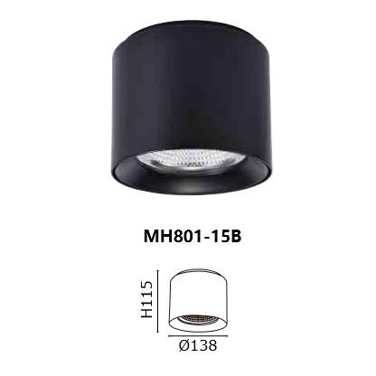 【奧若拉】MARCH LED 15W 筒燈 黑色 直徑13.8x11.5cm 吸頂筒燈 MH801-15B 樹林可自取