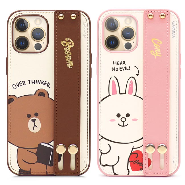 GARMMA LINE FRIENDS iPhone 12 mini/Pro/Pro Max i12 手掌帶皮革保護套
