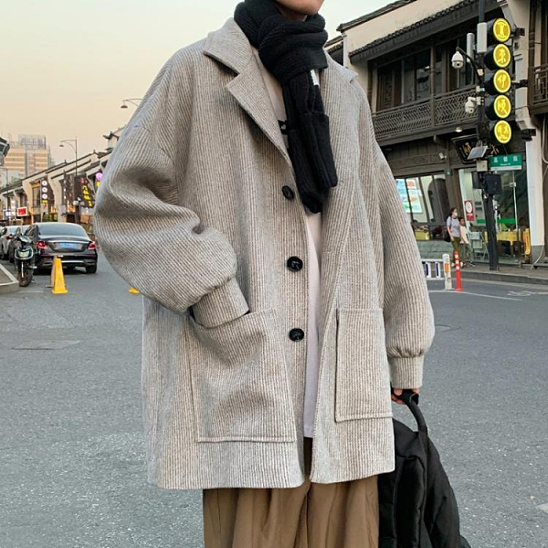 大衣外套男燈芯絨保暖韓版毛呢大衣秋冬季
