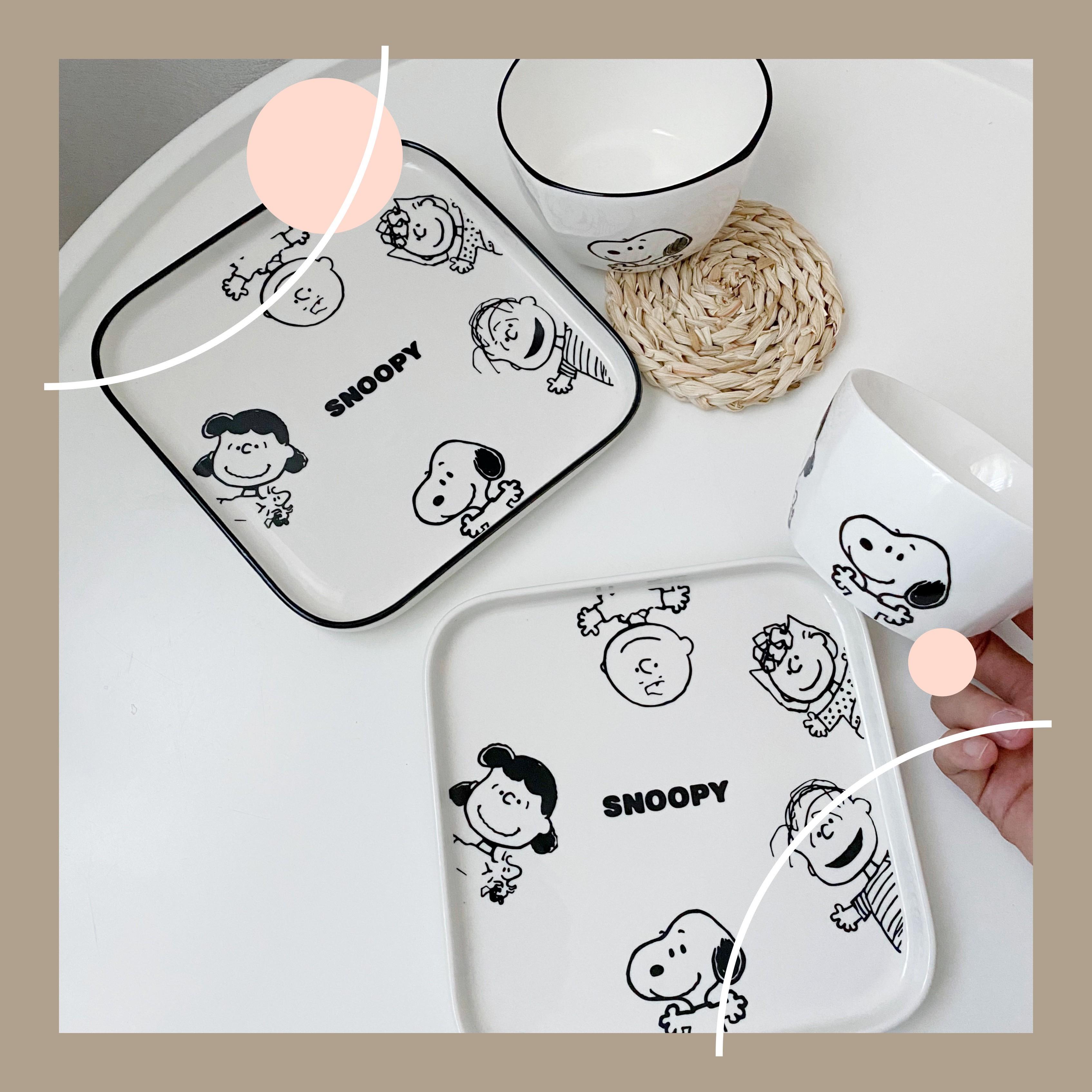 史努比Snoopy查理陶瓷碗網紅盤子創意餐具帶勺可愛少女心早餐碟